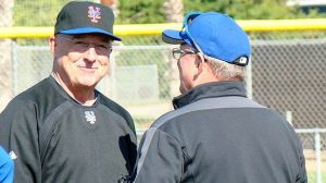 Brewers pitching coordinator Rick Tomlin, shown at left during his time in the same role with the Mets