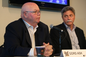 Brewers assistant GM Gord Ash (left), shown with Brewers GM Doug Melvin