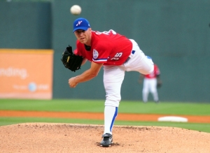 Chris Capuano as a 2010 Sounds pitcher. Photo courtesy Mike Strasinger / Nashville Sounds