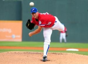 Chris Capuano as a 2010 Sounds pitcher. Photo courtesy Mike Strasinger / Nashville Sounds