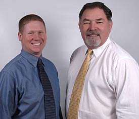 Zephyrs play-by-play man Tim Grubbs, shown at left with his broadcast partner and former New York Met Ron Swoboda (Photo courtesy New Orleans Zephyrs).