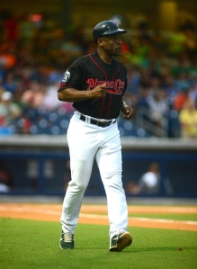 Hall of Famer Rickey Henderson, shown coaching first base for the Sounds. (Photo courtesy of Mike Strasinger / Nashville Sounds)