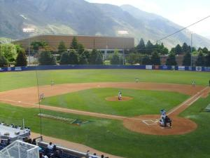 A view of the BYU baseball field in Provo, UT, which Brugman describes as better than Salt Lake.