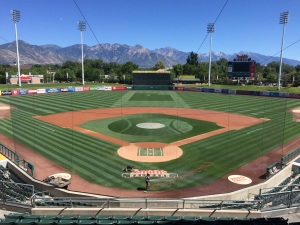 Smith's Ballpark, home of the Salt Lake Bees, with the Wasatch Mountains in the backdrop