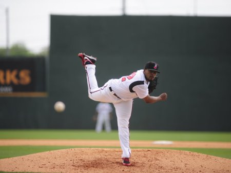 Rangers reliever Jeremy Jeffress (Photo courtesy Mike Strasinger / Nashville Sounds)